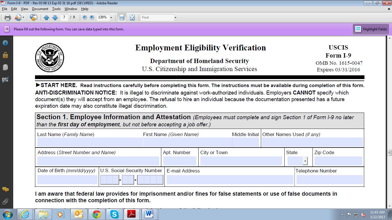 Printable Version of 2013 I-9 Employment Eligibility ...